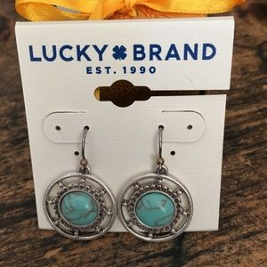 NWT Lucky Brand Turquoise & Silver color earrings